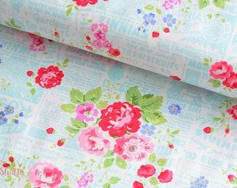 19,-  EUR/m Lakehouse Holly Holderman Pam Kitty Garden Baumwollstoff Blumen Pink Aqua Blau