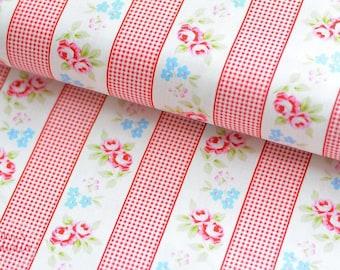 19,-   EUR/m Tanya Whelan Baumwollstoff Landhausstil Streifen Rot Rosen Rambling Roses
