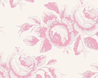 19,-EUR/m Tilda Old Rose Mary Pink Baumwollstoff Romantischer Rosenstoff Pastell Rosa 0,25 m