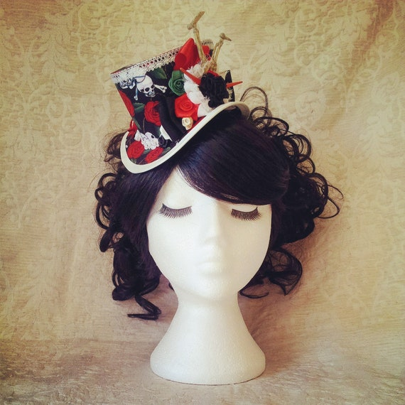 Halloween Mini Hat Gothic Top Hat Mini Top Hat Fascinator Etsy