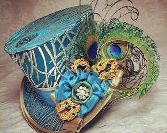 Mini Top Hat, Steampunk hat, Top hat, Gothic Lolita hat, Mad Hatter hat, Steampunk Wedding, Victorian Wedding, Ascot hat, Derby hat, peacock