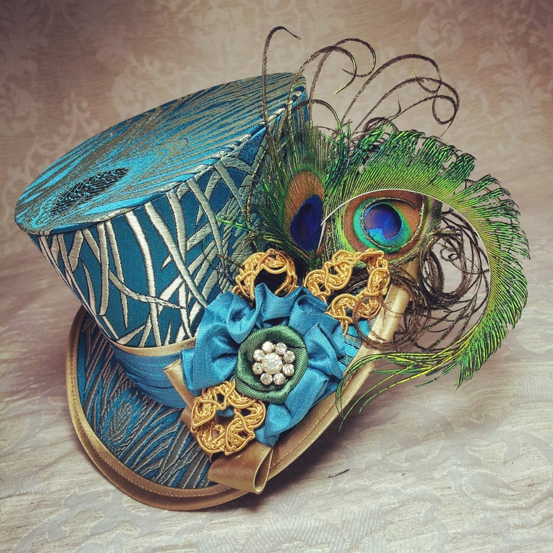 Mini Top Hat Peacock Feather hat Steampunk hat Gothic image 0