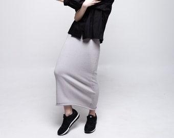 3fb2c6bac2cf Gray summerl skirt Gray pencil skirt Knit cotton skirt Stretch maxi skirt  Gray skirt long Summer skirts Skirts for women Maxi gray skirt