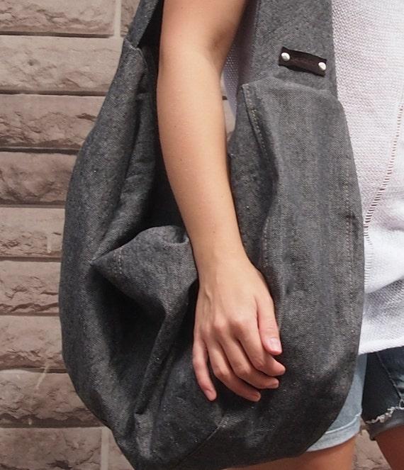 hobo gray bag jeans bag cotton canvas bag gigantic bag rough etsy