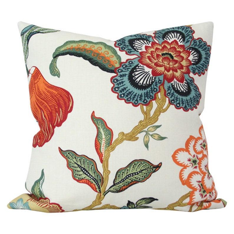 Hot House Spark Schumacher Designer Pillow Cover - Made-to-Order -  Multi-color floral blue orange green red