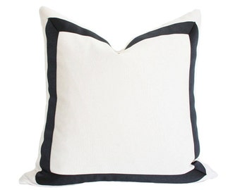 Solid White with Grosgrain Ribbon Border Designer Pillow Cover - Custom Made-to-Order - Choice of Black or Navy Border