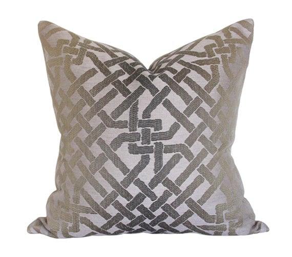 High End Cushion Lee Jofa Kelly Wearstler Designer Pillow Bengal Bazaar Magenta and Grey Luxury Throw Pillow Limited