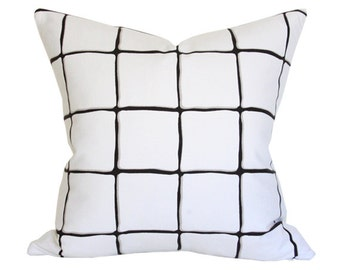 Painted Check Ink - Black and White Designer Pillow Cover - Custom Made-to-Order