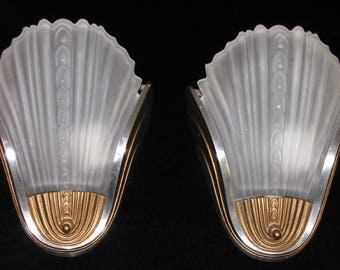 Vintage Pair Art Deco Slip Shade Wall Sconces/ FREE SHIPPING to USA & Canada