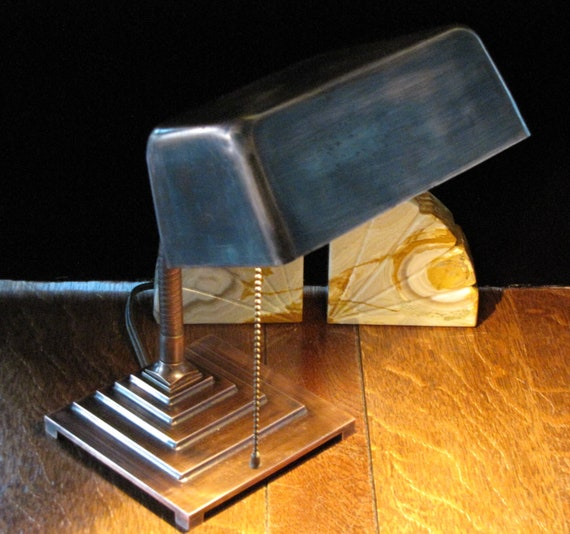 Vintage Art Deco Copper Bankers Desk Lamp Free Shipping To Canada Usa