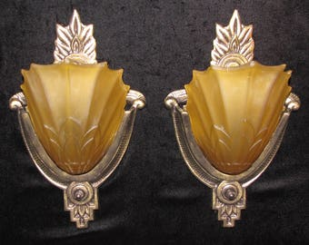 Vintage Pair Art Deco Slip Shade Wall Sconces / FREE SHIPPING to USA & Canada