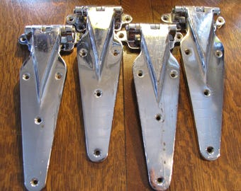Vintage Art Deco Industrial Chrome Hinges Set of 4 / FREE SHIPPING to USA & Canada