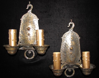 Vintage Pair Hammered Bronze Arts and Crafts Wall Sconces / FREE SHIPPING to USA & Canada