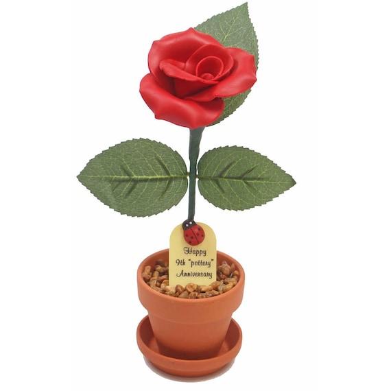 9th Anniversary Gift Pottery Desk Rose Etsy