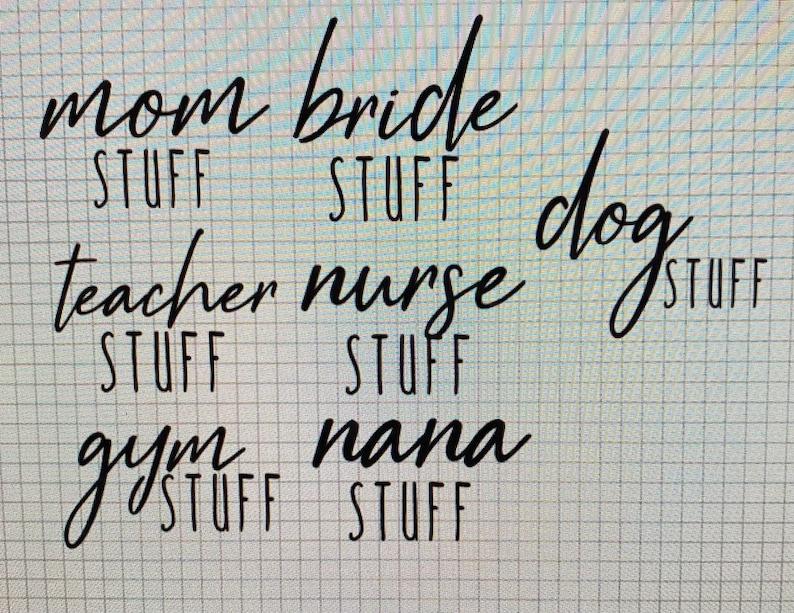 teacher gifts Teacher Stuff Canvas Tote in Natural gym bag mama dog mom life nurse gift gift ideas bride tote bag