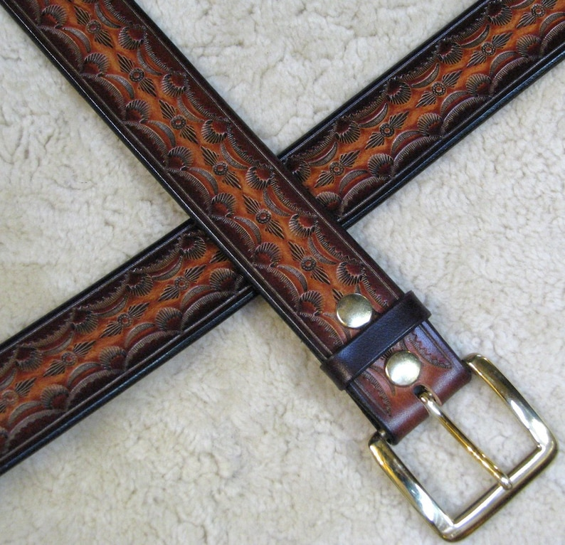 Hand-tooled Leather Belt  B21010 in Browns and Mahogany  image 0