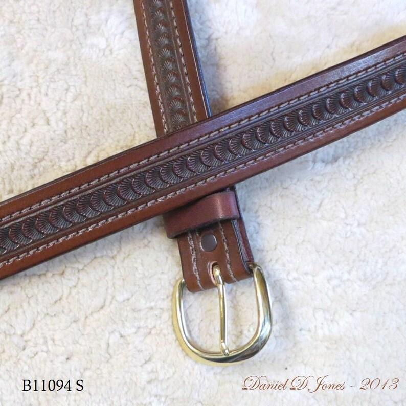 Hand-tooled Heavy Leather Belt  B11094S  Nylon-Stitched  image 0