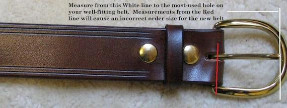19mm Hand Tooled Skinny Leather Belt 34\u201d wide