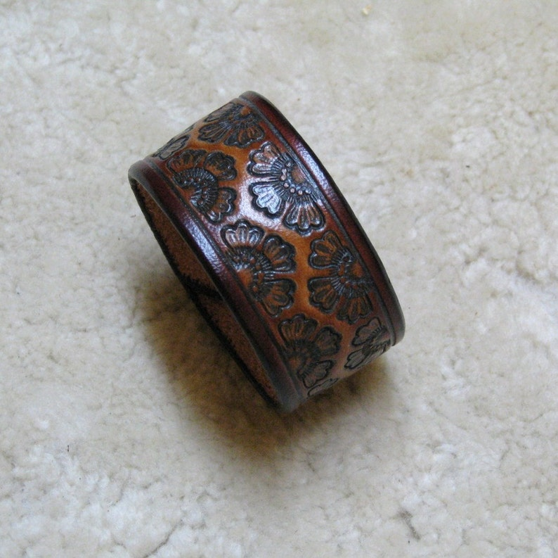 Hand Tooled Leather Cuff in Tan and Browns  C13025  image 0