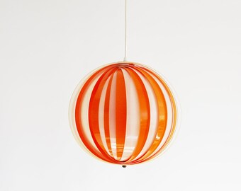 Mid Century Orange Moon Ceiling Lamp - 70s
