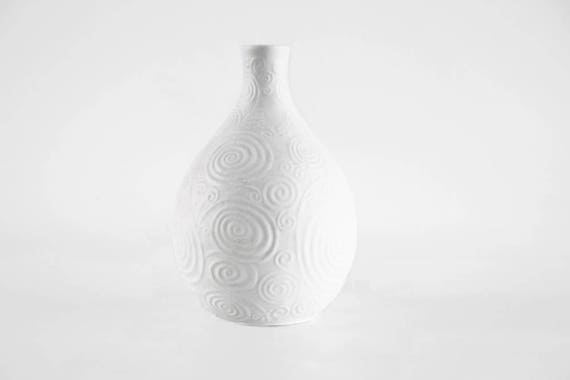 Vintage German White Bisque Vase Geometric Pattern Heinrich Etsy