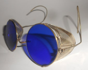 Cobalt Gothic Goggles Air Pirate Blue Lens Antique Pierced Metal Wind Guard- Steampunk Motoring / Industrial  Style