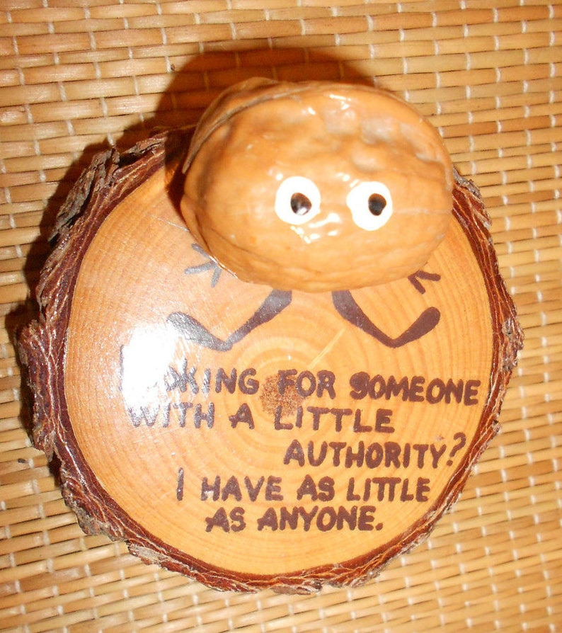 Walnut Gag Gift Nut Fun Kitsch Anthropomorphic Mid Century Desk Collectible-Vintage Office Humor Painted Nut On Natural Cedar Wood Base