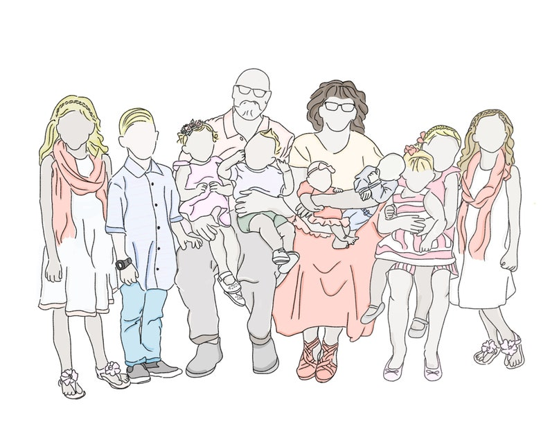 Digital Faceless Family Portrait  up to 5 people image 0