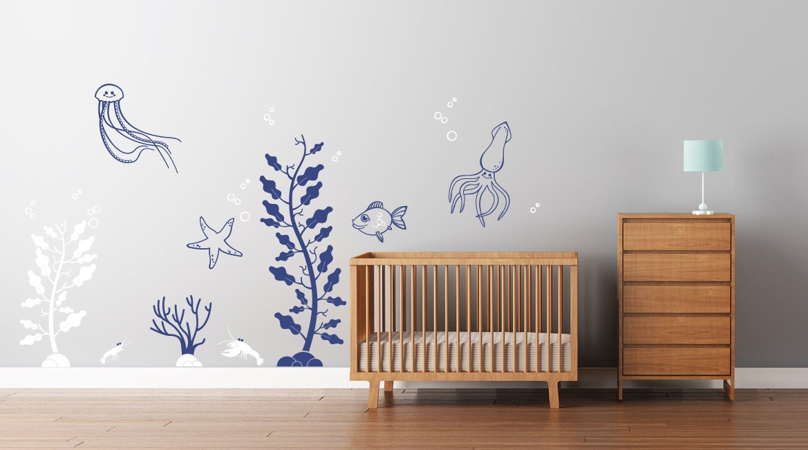 Deep Sea Wall Decals for Baby Nursery. Underwater themed ...