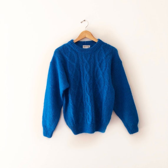 Vintage 1980s Chunky Knit Cerulean Blue Sweater in