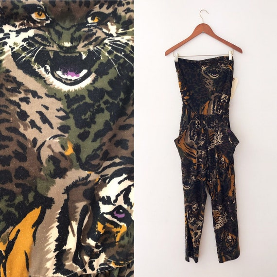1980's Jumpsuit Tiger Print Strapless with pockets