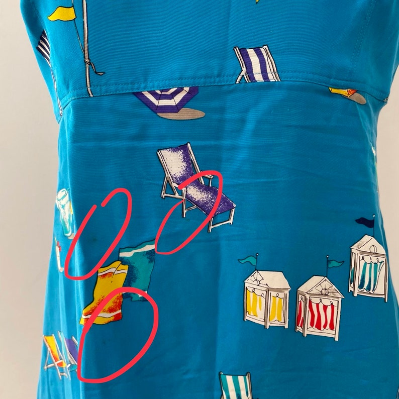 Summer Dress Dana Buchman Dresses 1980/'s Blue Beach Print Sleeveless Silk Dress with Tie Back