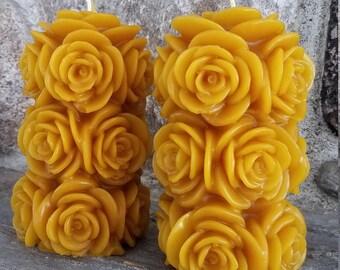 Rose Pillar Beeswax Candle
