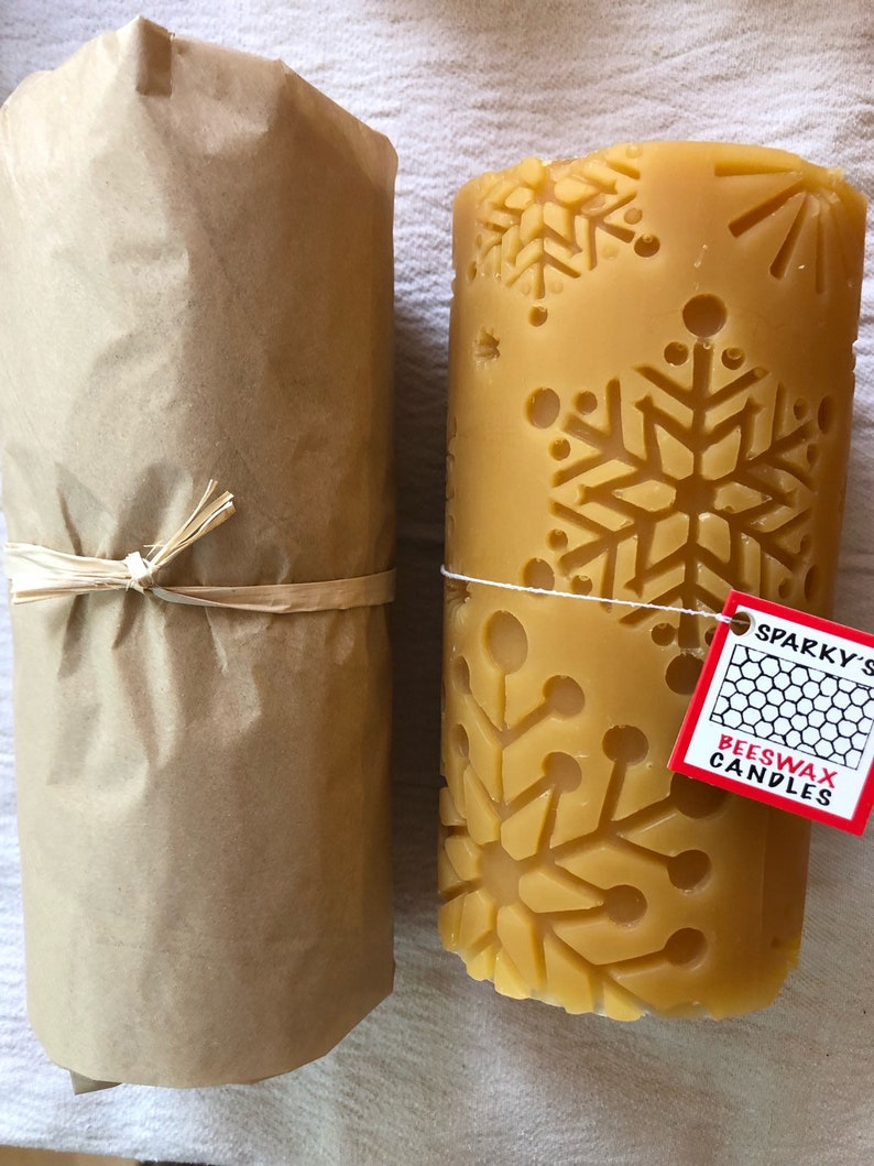 Pure Beeswax Snowflake Pattern Pillar Candle
