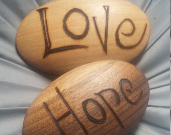 Wood River rocks stone shaped wood like ash, cherry, sumac, walnut- customized with your words and text burnt in