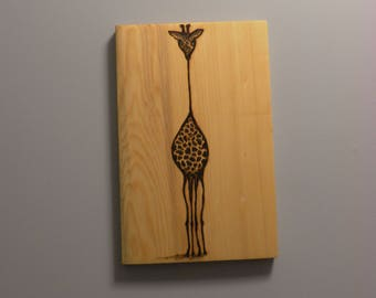 Pyrography Portrait of a Giraffe on cedar made to order to your specifications on reclaimed wood