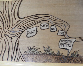 Pyrography- Don't step on the Mome Raths from Alice in Wonderland tree on cedar shingle