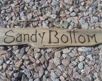 Sandy bottom....Message on driftwood hand lettered -custom made to order