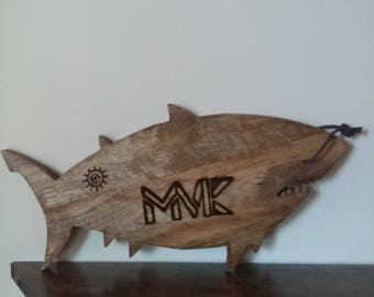 SHARK serving board Pyrography Portraits images and logos on sharks made to order