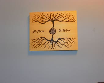 AS ABOVE so BELOW pyrography on reclaimed yellow cedar for your walls- to remind us we are all connected