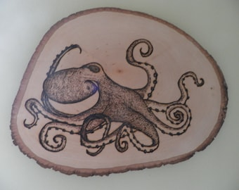 Octopus Pyrography Portrait  o' an amazing creature made to order on Linden round 11""