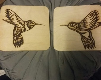Hummingbird  flying portrait on birch pyrography made to order