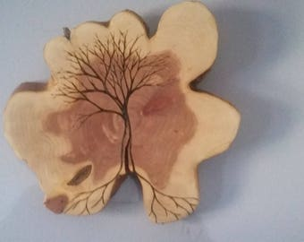 Lone Tree with roots on raw edge cedar Customizable made to order