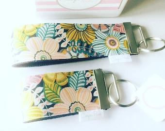 Modern Floral Keychain  Wristlet Key Fob  Key Ring