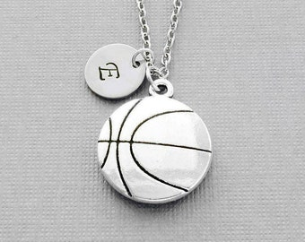 Basketball Necklace, BBall Player Gift, Large Basketball Charm, BFF, Silver Jewelry, Personalized, Monogram, Hand Stamped Letter Initial