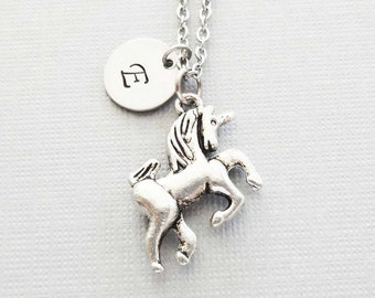 Unicorn Necklace, Mythical, Storybook, Fairy Tale Jewelry, BFF, Friend Gift, Silver Initial, Personalized, Monogram, Hand Stamped Letter