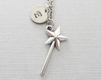 Magic Wand Necklace, Fairy Necklace, Godmother Jewelry, Friend Gift, Silver Jewelry, Personalized, Monogram, Hand Stamped Letter Initial