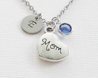 Mom Necklace Mom Heart Necklace Mothers Day Gift Best Friend Jewelry Swarovski Birthstone Silver Initial Personalized Monogram Hand Stamped