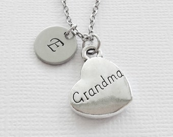 Grandma Necklace Grandmother Heart Necklace Mothers Day Gift Birthday Gift Silver Jewelry Personalized Monogram Hand Stamped Letter Initial