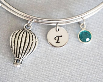 Hot Air Balloon Bangle, Balloon Bracelet, Outdoors Adventure Travel, Personalized, Expandable, Initial Charm Bracelet, Swarovski Birthstone